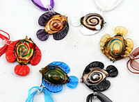Cheap Fish gold dust Murano glass bead pendant necklace fashion handmade mix Color lampwork Murano jewelry