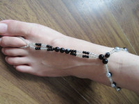 anklets and toe rings - barefoot stretch anklet chain with toe ring pc retailes double row black and white plastic bead