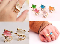Wholesale 15pcs Opal cat eye stone beads cute forefinger opening ring couple ring charm jewelry