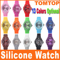 Wholesale 13 Colors Luxury Fashion Unisex Colorful Candy Jelly Watch Ladies Women s Men s Silicon Watch H8328