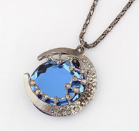 Wholesale Vintage Style Gun Black Alloy Star Moon Blue Crystal Pendant Necklace