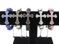 Wholesale Sideways Cross Bracelets Crystal Clay Ball Unisex For Birthday Gift New Arrival colors