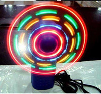Wholesale New LED Color Matrix Light Handheld Portable Mini Fan Fans Changing Light Up Travel Cool Fan V3508