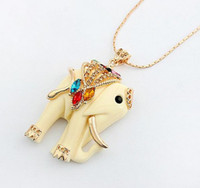 Wholesale Bohemia Style colorful crystal clear rhinestone cream resin elephant necklace pc unisex