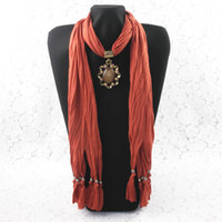 Wholesale DHL Free New Designs Soft Charm Pendant Scarves Jewelry Scarves Fashion Jewelry Scarf