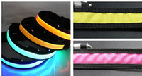 Wholesale LED Pet Collars Nylon Ribbon Led Pet Dog Cat Leashes LED Pet Collar Pet Outdoor Sports W