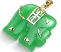 China-Miao Unisex Party Green jade elephant pendant necklace