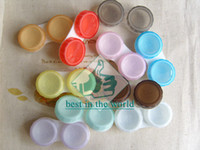 Wholesale RETAIL pairs Contact Lens Soaking Case Candy Color Storing Holder Support Whole Sale