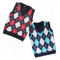 Wholesale Baby boys plaid vest kids fashion sweaters children cool outerwear boy cute waistcoat Autumn outfit