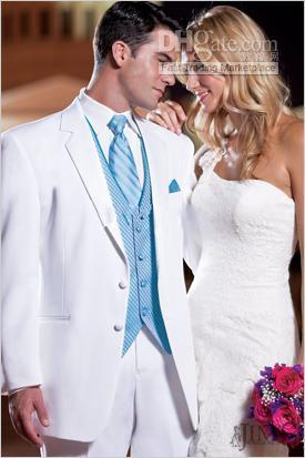 White Groom Tuxedos Top Quality Men's Wedding Dress Prom Clothing ...
