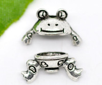 Wholesale 30 Sets Silver Tone Frog Charm Bead Caps Set Findings for DIY Craft x9mm
