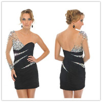cocktail dress - 2012 New Beaded One Shoulder Long sleeve Black NudeTulle Satin Little Cocktail dresses Party dresses