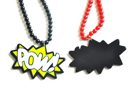 Wholesale Good quality HIPHOP Acrylic POW bead necklace not wood Mix color pendant rosary necklace