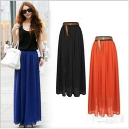 Wholesale 2012 New Beautiful Women s Chiffon Long Skirt CM Girls Maxi Skirts colors