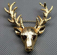 Wholesale Gold Plated Spotted Deer Head Pin Brooch unisex jewelry