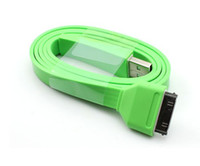 Wholesale Hot colorful flat noodle usb sync charger data cable for iphone S for ipad Lengh CM