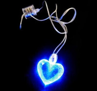Wholesale Led Pendant Necklace Butterfly Heart cross Blue LED Light Lamp Magnetic Necklaces gift