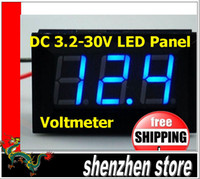 Wholesale New Wire Blue Green Red DC V LED Panel digital display Voltage Meter Voltmeter Free ship