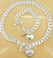 Wholesale 5 sets silver Fashionable man heart shaped necklace bracelet necklace inch c109