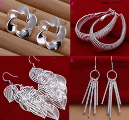 Wholesale Marking silver earrings ear hook Dangle amp Chande jewelry earrings pairs