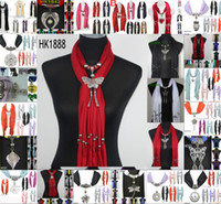 Long scarf jewelry - cheap pendants scarf jewelry New scarf with jewellery cotton soft scarves beads Mix design Colors DHL