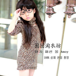 Wholesale New Girls Leopard Dress Children Autumn Fashion Clothing Baby Sexy Long Dress