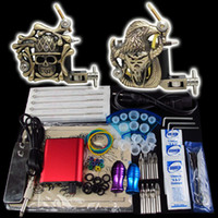 Wholesale Beginner Gun Kit Tattoo Machine Power Supply Foot Pedal Needles Grip Tip Ink Cups K02