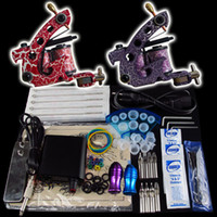 2 Guns Beginner Kit  Wholesale Beginner 2 Gun Kit Tattoo Machine Power Supply Foot Pedal Needles Grip Tip Ink Cups K06