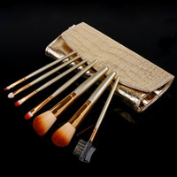 Wholesale Cosmetic Brushes Professional Makeup Brush with Gold Leather Case Set HB8092
