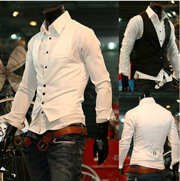 Wholesale Hot Men s Leisure Men Slim Black White Vest Single breasted
