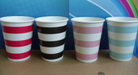 Wholesale 9oz paper cups party supplies colours mix striped paper cup
