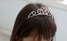 Wholesale Children s pink head little crown show crown tire crown adorn article the bride bride accessories hair jewelry