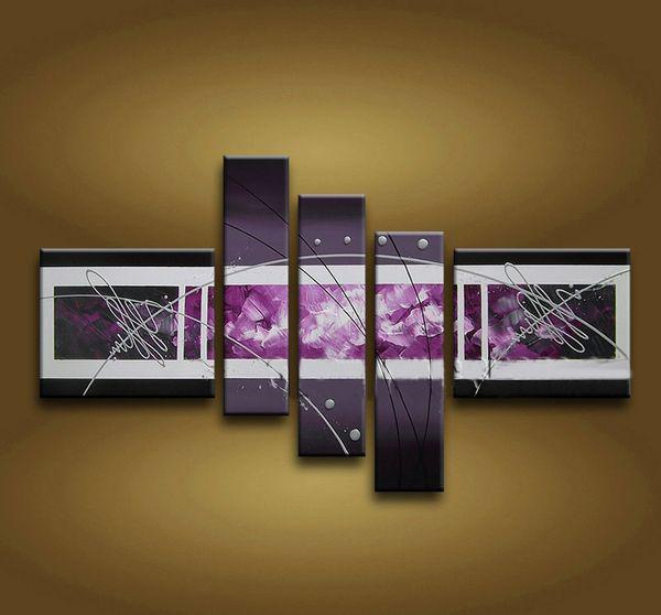Framed 5 Panels High End Purple Wall Art Abstract Oil