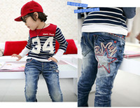 Wholesale children long pants Bby boy s and girl s fashion pentagram print jeans