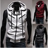 Wholesale Hot Men vest Vest New Men Hooded Red wine Multi zipper School of style Knitting Hooded Slim Vest