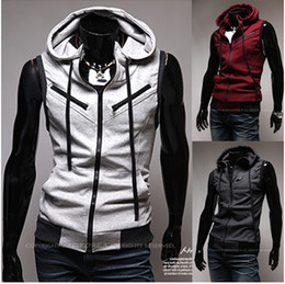 Wholesale 2012 New Men Hooded Red wine Multi zipper School of style Knitting Hooded Slim Vest