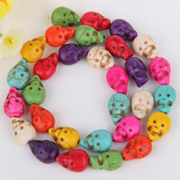 Wholesale 5 Strands quot L Colorful Howlite Turquoise Double face Ghost Skull Loose Beads x13x7mm Jewelry