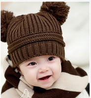 Wholesale New Toddler knitted Hats Solid color double ball Super Cute Baby Beanie Hats Kids Hat
