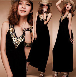 Wholesale TW HOT EUR USA Fashion Sleeveless Dress Vest Dress Sweep the floor Dress