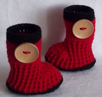 Crochet baby snow booties first walker shoes big button cott...