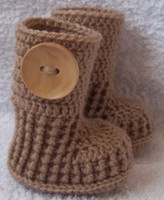 Crochet baby snow booties first walker shoes big button soli...