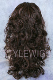 Wholesale half wig hair pieces Reversible Wig Curly Fall Hair Piece Brown Auburn