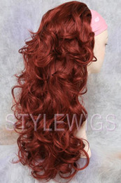 Wholesale half wig hair pieces Reversible Wig Curly Wavy Fall Hair Piece Red