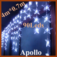 Wholesale Xmas LED Curtain String Light m m Five Pointed Star Christmas Decoration Wedding Party Holiday Flash Fairy Lamp