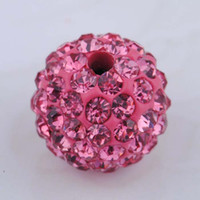 Wholesale 350pcs Pink Micro Pave Disco Ball Bead Rhinestone Bead Round Spacer Beads Fit Bracelet Hot Sale