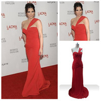 Reference Images Cannes Film Festival One-Shoulder Sext Style One Shoulder In Red Chiffon Celebrity Dresses Kim Kardashian Lacma Evening Gowns Long
