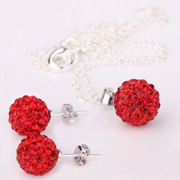"15sets 925 Silver 10mm Red Pave Disco Crystal Ball Rhinestone Bead Fit ""O"" Chains Necklace & Stud"