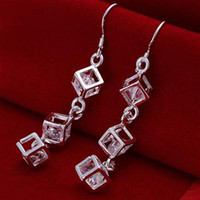 fashion jewelry boxes - new Silver fashion jewelry charm Gorgeous white crystal girl box chain earring jewelry E206