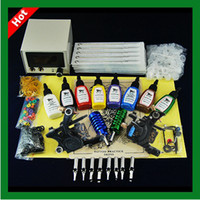 Wholesale special offer Complete Professional tattoo Kit Machines Guns colors ink new design