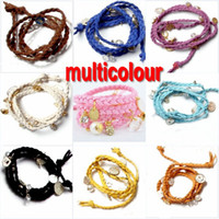 Wholesale Multilevel Braided Leather Bracelet Adjusted Leather Wrap Bracelet Charm Fashion Jewelry TBL6